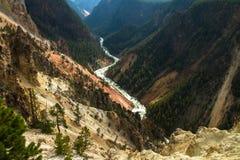 La rivière Yellowstone et canyon Image libre de droits