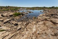 La rivière Zambesi au-dessus de Victoria Falls en Afrique Photo libre de droits