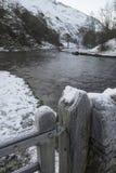 La rivière traversant la neige a couvert le paysage d'hiver dans la forêt va Images stock