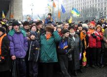 La rivoluzione arancio nel _71 di Kyiv nel 2004 Fotografie Stock Libere da Diritti