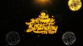 la 3ro tarjeta de felicitaciones de los deseos del feliz cumpleaños, invitación, fuego artificial de la celebración colocó libre illustration