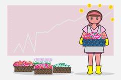La robe de rose de femmes tient un produit et le graphique des affaires est le fond - Bande dessinée et concept plats de fleurist Images stock