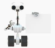 La robusteza fresca del cyborg muestra en la tarjeta vacía Fotografía de archivo libre de regalías