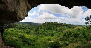 Vista dalla roccia dell'ombrello nel distretto di Yilo Krobo, fuori di A Fotografia Stock