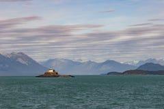 La roccia Lightouse di Eldred ha costruito nel 1905 su Sullivan Island, canale di Lynn immagini stock