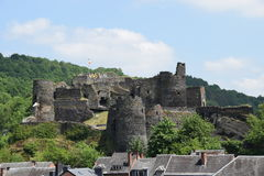 La Roche Castle. The feudal castle of La Roche En Ardenne (Belgium) during a summers day. The castle towers over the medieval town of La Roche en Ardenne Royalty Free Stock Image