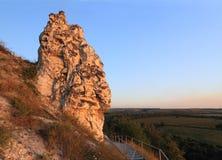 La roche de craie brillée avec le soleil Photo libre de droits