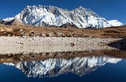La roche du sud de Lhotse et de Nuptse font face à refléter dans le petit lac photographie stock