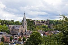 La Roche en Ardennes - SEPTEMBER 20: Panoramic view of the city and medieval castle. Stock Images