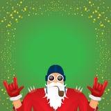 La roche n du DJ de vecteur roulent le père noël avec le tuyau de tabagisme, la barbe de Santa et le chapeau génial de Santa d'is illustration libre de droits