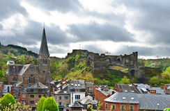La Roche. View of the Church and the Castle in the Belgian City of La Roche Royalty Free Stock Photo