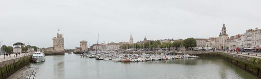 La Rochelle, France panorama. Panoramic view of the arbor of La Rochelle city in France Royalty Free Stock Photography