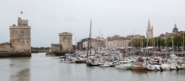 La Rochelle, France panorama. Panoramic view of the arbor of La Rochelle city in France Stock Photography