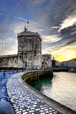 La Rochelle Harbor Medieval Fortification in France stock photo