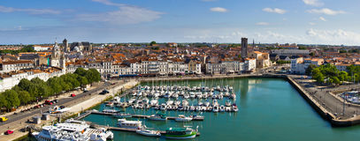 La Rochelle harbour -  Panorama. The panorama of the charming old harbour of the La Rochelle medieval town, on the Western french Coast Stock Images