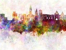 La Rochelle skyline in watercolor Stock Photo