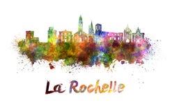 La Rochelle skyline in watercolor Royalty Free Stock Image