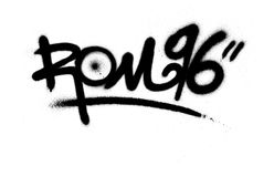 La ROM 69 de la etiqueta de la pintada roció con el escape en negro en blanco Imágenes de archivo libres de regalías