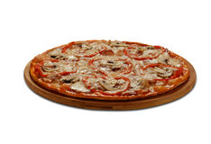 La Roma pizza with bacon and champignons. On white background stock photography