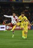 La Romania contro la partita dei qualificatori della coppa del Mondo della Danimarca la FIFA Fotografia Stock