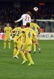 La Romania contro la partita dei qualificatori della coppa del Mondo della Danimarca la FIFA Immagine Stock