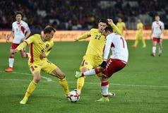 La Romania contro la partita dei qualificatori della coppa del Mondo della Danimarca la FIFA Fotografie Stock Libere da Diritti