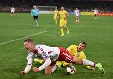 La Romania contro la partita dei qualificatori della coppa del Mondo della Danimarca la FIFA Fotografia Stock Libera da Diritti