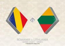 La Romania contro la Lituania, lega C, gruppo 4 Competi di calcio di Europa royalty illustrazione gratis