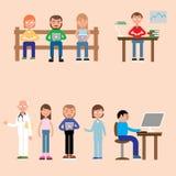 La ronda de los hombres leyó mirada en los ordenadores libre illustration