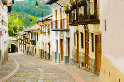 La Ronda Quito Ecuador South America. La Ronda picturesque curve street in colonial Quito Ecuador South America Stock Photography