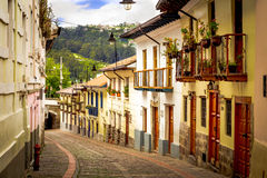 La Ronda Quito Ecuador South America. La Ronda picturesque curve street in colonial Quito Ecuador South America Royalty Free Stock Images