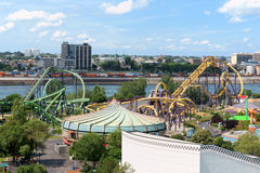 La Ronde Amusement Park view from Jacques Cartier Bridge, Montre Stock Photography