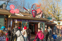 La Ronde The Candy house. La Ronde is an amusement park in Montreal, Quebec, Canada, owned and operated by Six Flags. The park is under an emphyteutic lease with royalty free stock photos