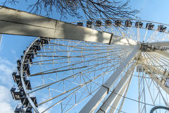 La Ronde Ferris whell. La Ronde is an amusement park in Montreal, Quebec, Canada, owned and operated by Six Flags. The park is under an emphyteutic lease with Stock Images