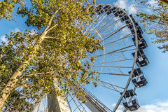 La Ronde Ferris whell. La Ronde is an amusement park in Montreal, Quebec, Canada, owned and operated by Six Flags. The park is under an emphyteutic lease with Stock Photo