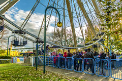 La Ronde Ferris whell entrance. La Ronde is an amusement park in Montreal, Quebec, Canada, owned and operated by Six Flags. The park is under an emphyteutic Royalty Free Stock Images
