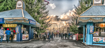 La Ronde Scene. La Ronde is an amusement park in Montreal, Quebec, Canada, owned and operated by Six Flags. The park is under an emphyteutic lease with the City Royalty Free Stock Photos