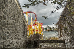 La Ronde Scene rides. La Ronde is an amusement park in Montreal, Quebec, Canada, owned and operated by Six Flags. The park is under an emphyteutic lease with the Royalty Free Stock Photography