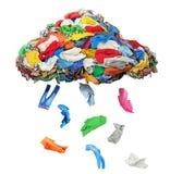 La ropa cae de una nube de la ropa aislada en un backgro blanco fotos de archivo libres de regalías