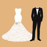 La ropa de novia y del novio libre illustration