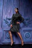 La ropa del negocio de los zapatos de los tacones altos del top del traje de vestido de negocios que lleva de la mujer del pelo d Fotos de archivo libres de regalías