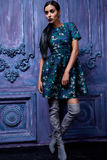 La ropa del negocio de los zapatos de los tacones altos del top del traje de vestido de negocios que lleva de la mujer del pelo d Foto de archivo libre de regalías