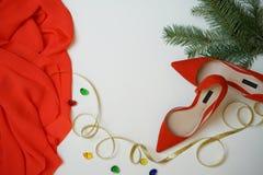 La ropa elegante femenina y los accesorios de la visión superior en la moda equipan artículos: árbol de abeto elegante del paño,  foto de archivo libre de regalías