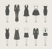 La ropa femenina fijó el icono Fotografía de archivo