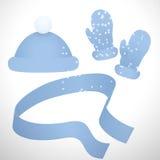 La ropa hecha punto realista fijó de las manoplas, del casquillo y de la bufanda libre illustration