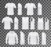 La ropa masculina aisló los tops, las camisas y sudadera con capucha ilustración del vector