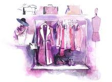 La ropa para mujer en el estante, accesorios forma el equipo Compras stock de ilustración