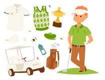 La ropa y los accesorios del jugador de golf golfing el oscilación masculino del club se divierten el ejemplo del vector del equi Imagenes de archivo