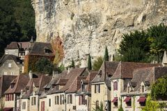 La Roque Gageac, één van de mooiste dorpen van Frankrijk, Dordogne-gebied stock afbeeldingen