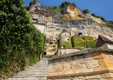 A majestic stone staircase in La Roque-Gageac a charming town in the Dordogne valley. France. La Roque-Gageac, Dordogne, France - September 7, 2018: A majestic stock photo
